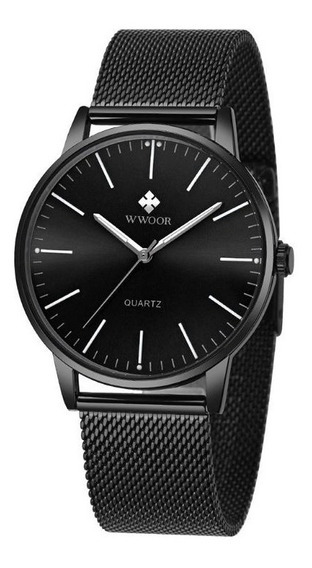 Relógio Ultrafino Original Watch Wwoor Slim Preto 8832