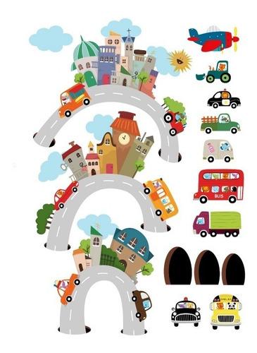 Vinilo Decorativo Ciudad-i 11 Edificios, Carretera Y Carros