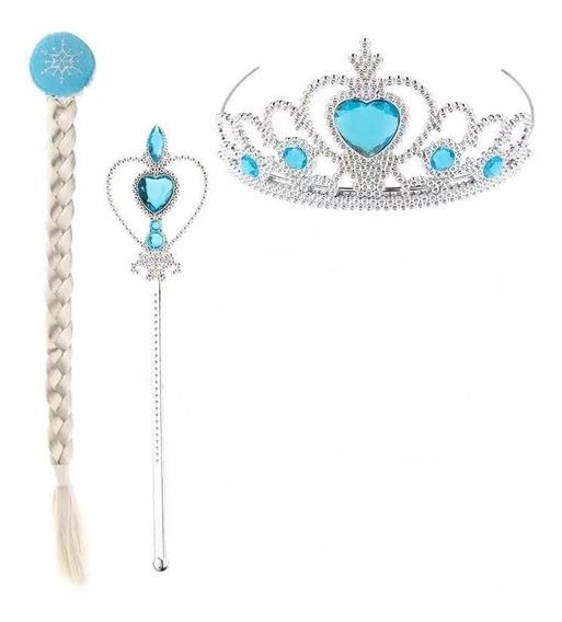 Set De Accesorios Elsa Frozen Corona Varita Y Trenza
