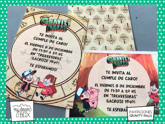 Tarjetas Invitación Cumple Infantil Gravity Falls Mabel Pato
