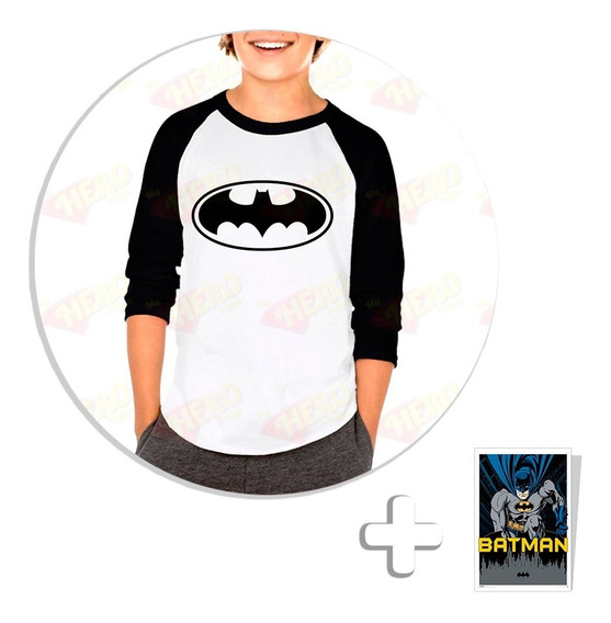 Envío Gratis Playera Raglan Niño Batman + Sticker De Regalo