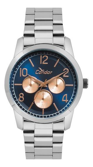 Relógio Condor Kit Prata Metal Feminino Co6p29ij/k3a