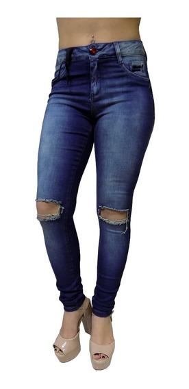 Calça Jeans Feminina Cós Alto Skinny Agarrada Joelho Rasgado