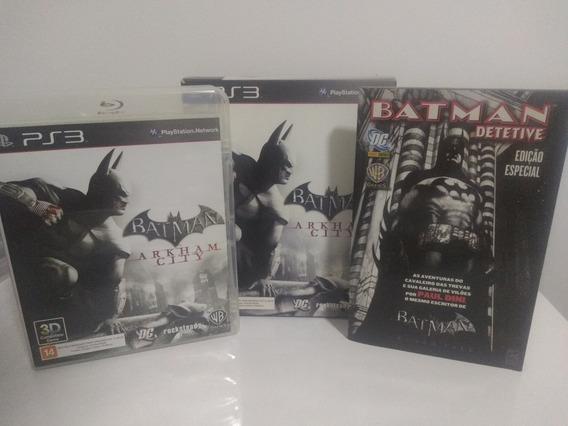 Kit Jogo Batman Arkham City Com Gibi Ps3 Colecionador