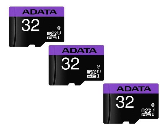 3 Cartão De Memória Adata Ausdh32guicl10-ra1 Premier 32gb