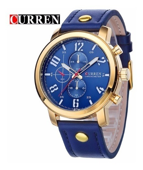 Relógio De Pulso Masculino Curren Esportivo Imperm. Azul