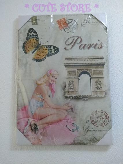 Quadro Placa Decorativa Pin Up Vintage Retro Mdf Paris