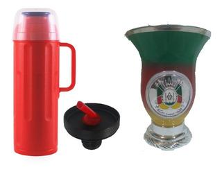 Térmica Termolar Personal 1 Litro Vermelho + Cuia Decorada Rio Grande Do Sul Gaúcho 250 Ml