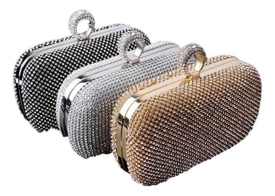 Clutch Bag De Festa Bolsa De Mão Luxo Dourada Prata Pedras