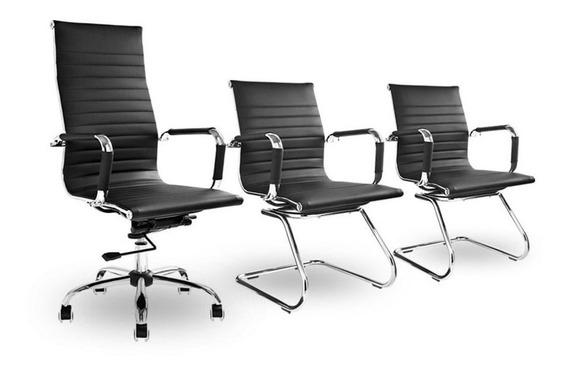 Kit 3 Unidades Cadeiras De Escritório Presidente Secretária Confortável