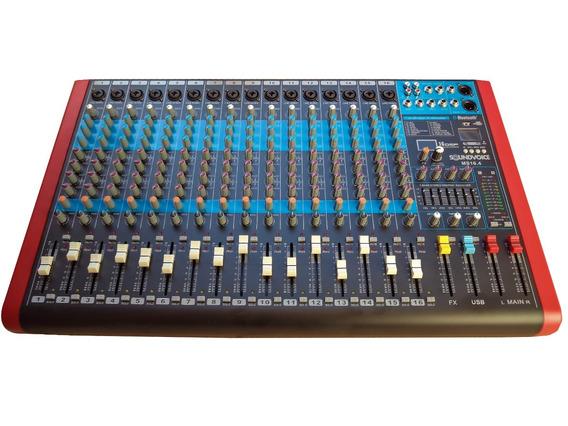 Mesa De Som 16 Canais 4 Aux Rec Usb Bt Efx Ms16.4 Soundvoice