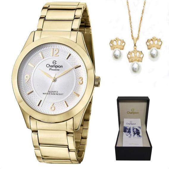 Kit Relógio Champion Feminino Dourado Cn28866b Com Semi Joia