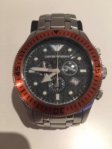 Relógio Armani Bezel Laranja Com Caixa