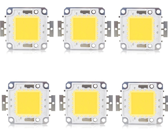 Kit 6 Chip Led 50w Para Reposição Refletor Led Branco Frio