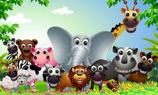 Painel Festa Lona Animais Selva Safari Feliz Aniversário