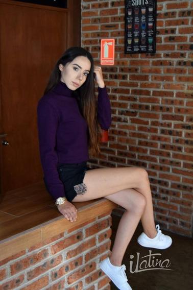 Suéter De Licra Cuello Alto Mujer Tejido De Punto