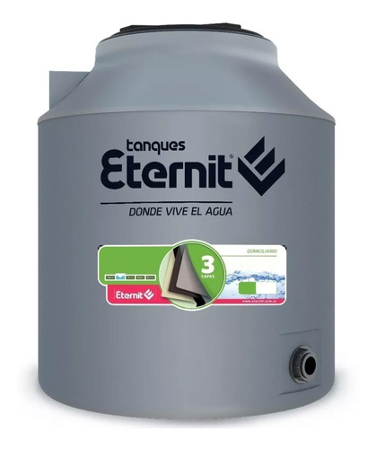 Imagen 1 de 10 de Tanque De Agua Eternit Tricapa Gris 750 Litros Domiciliario