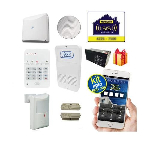 Kit Alarma X28 Casa Domiciliaria Llamador Gsm Comando Via App Celular