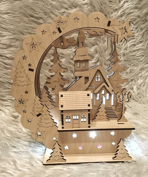 Lámpara Navidad Adorno Luz Led Vector Corte Láser Bellísima!