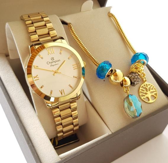 Relógio Dourado Champion Feminino Luxo Original + Pulseira