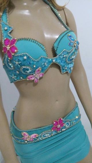 Roupa Dança Do Ventre Aleynah Luxo Azul Tiffany -2 Peças