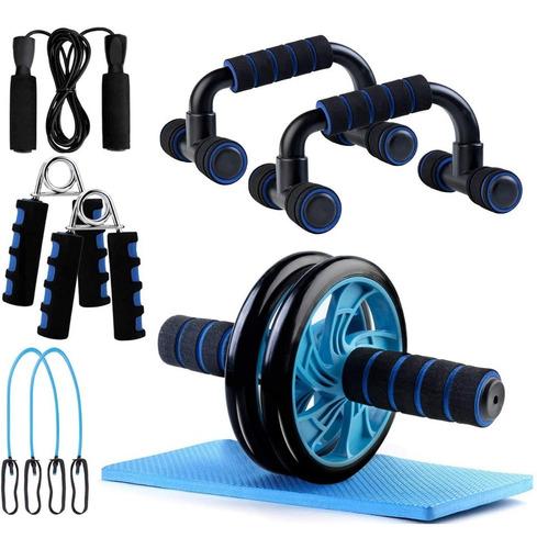 Set 6 En 1 Roller Rodillo Abdominales Entrenamiento Casa Gym