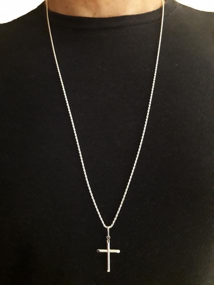 Crucifixo + Cordão Baiano 60cm Em Prata Pura 925 + Brinde