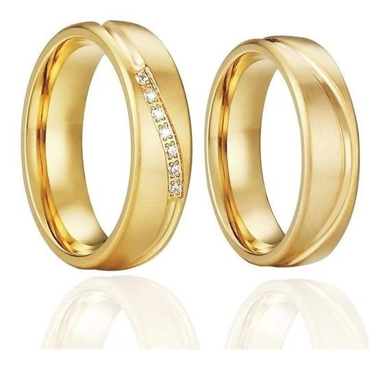 Par Alianças Banho Ouro 18k6mm Tungstênio Casamento Noivado