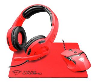 Combo Gamer Trust Diadema Mouse Mousepad Pc Barata Nueva