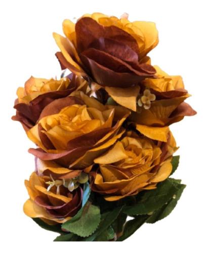Buquê De Rosas X9 55cm - Ocre Outono