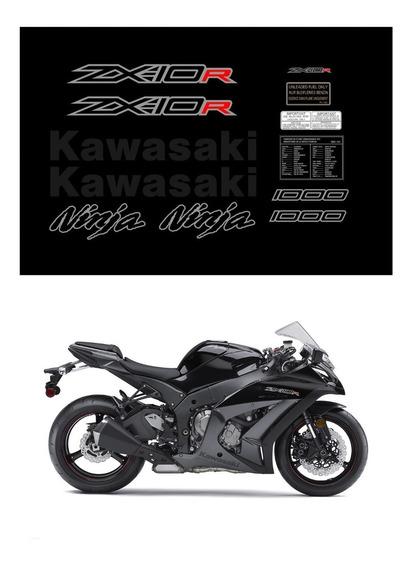 Kit Adesivos Moto Kawasaki Ninja Zx-10r 2012 Preta Ccr15989