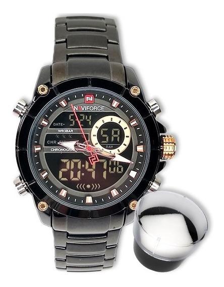 Relógio Naviforce 9163 Original Importado Preto