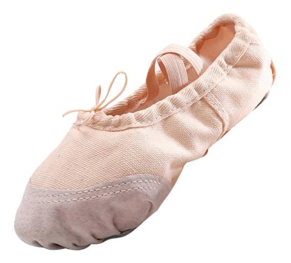 Zapatillas Lona Ballet 15-22 Durazno Rosa Piel Suave Gimnasi