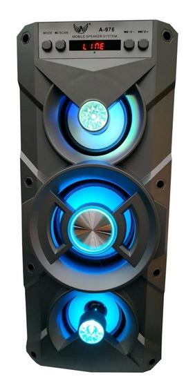 Caixa De Som Portátil 10w Bluetooth Fm Micro Sd Aux Usb Led