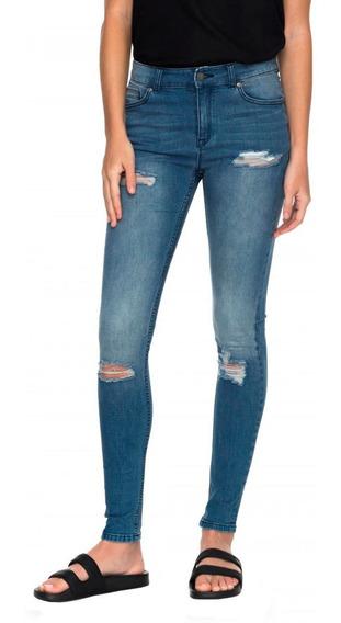 Jeans Mujer Pantalón Cintura Alta Desgastado Ajustado Roxy