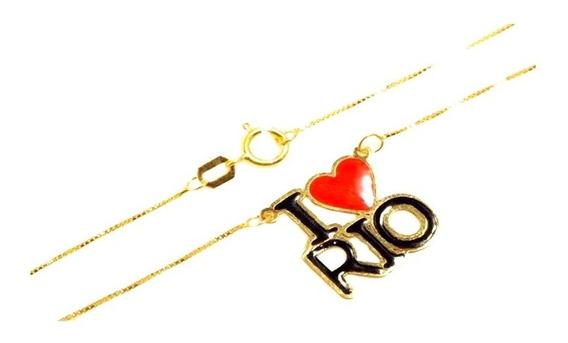Corrente Feminina Ouro 18k Pingente I Love Rio 45cm + Porta Joias 1758