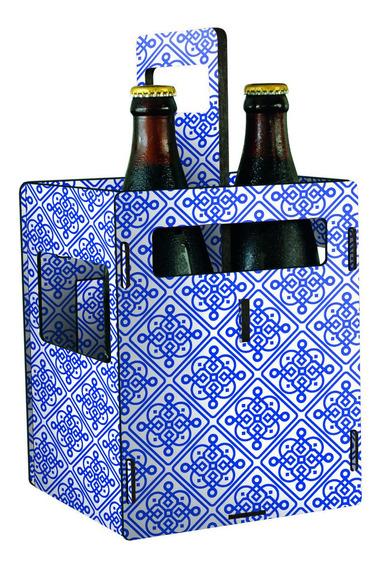Porta 4 Botellas Chicas Porron De Cerveza - Azulejo Azul