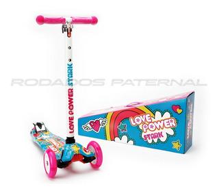 Scooter Monopatin Love Power Chicas Nena Con Luces Original