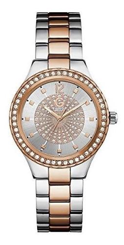 G By Guess Womens Silver Y Rose Goldtone Crystal Glitz Reloj
