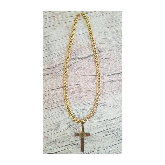 Corrente Dourada Masculina Grossa Com Pingente Crucifixo