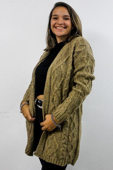 Saco De Lana Mujer Largo Amplio Con Detalle Trenza Tejido