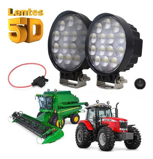 Trator Máquina Agricola Farol 4 Pol Led 42w 5d Luz Milha Par