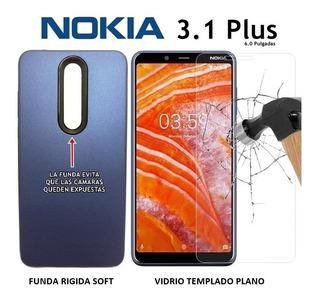 Funda Protege Cámara + Templado Plano Nokia 3.1 Plus Rosario