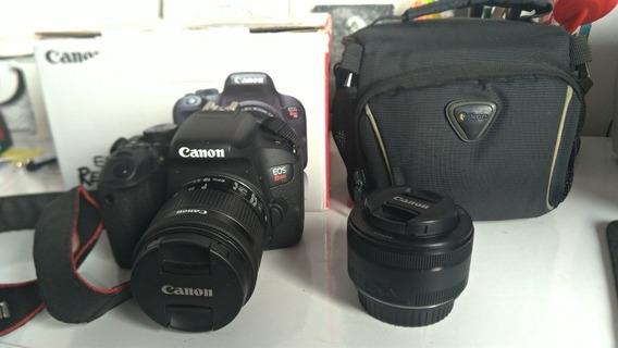 Canon T7i + Lente 50mm Canon + Lente 18-55 Canon + Bolsa