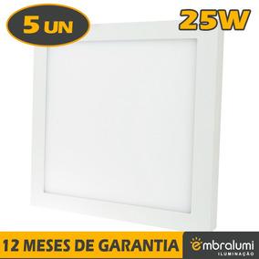 Kit 5 Pçs Painel Plafon Quadrado Luminária Sobrepor Led 25w