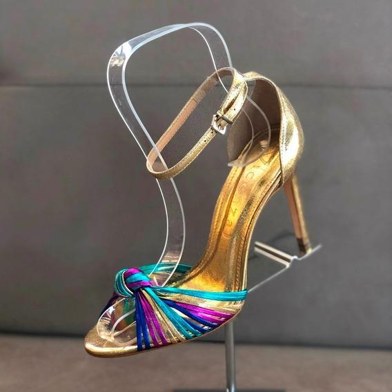 Sandália Vicenza Paris Dourada Tiras Pink/ Azul - Loja Berti