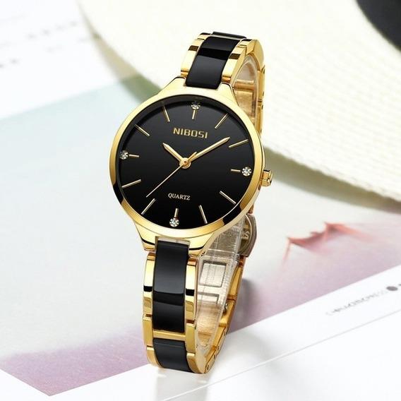Relógio Feminino Nibosi Original Pulseira Cerâmica