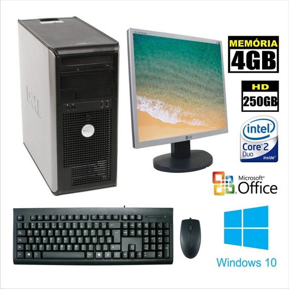 Computador Core 2 Duo 3.0 4gb 250hd Completo Dell 755 Torre