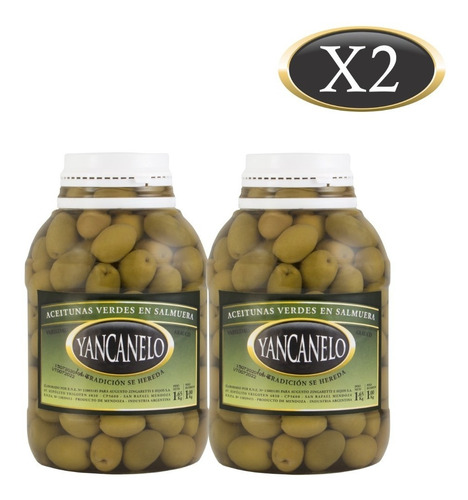 Aceitunas Verdes Yancanelo Bidón 1 Kg X 2 U