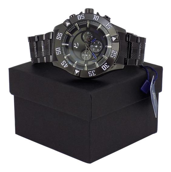 Relógio Masculino Preto Pulseira Aço Moderno Estiloso Oferta